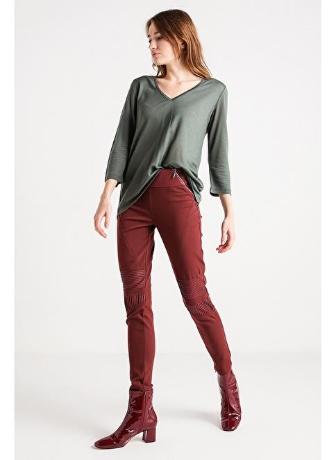 Love'n Fashion Paris Çift Renk Biye Detaylı Bluz Haki
